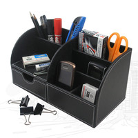 PU Pen Holder Leather Pencil Holder 7 Storage Desk Organizer Stationery brush Container Office accessories