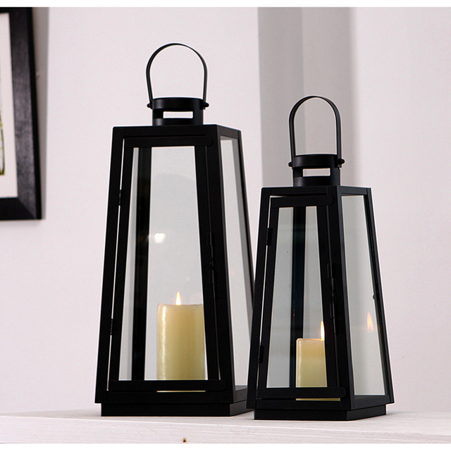 Europe Candle Holders Moroccan Lanterns Black Iron Glass