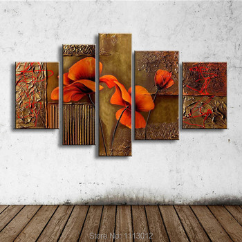 100% Hand Painted High Quality Abstract 5 Pcs Set Flower Decoration Oil Painting On Canvas Home Wall Arts Modern For Living Room