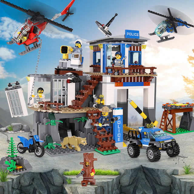 Model building Block kits Compatible With Lego 60174 02097 742pcs City Series The Mountain Police Headquater 3D Bricks figure city series the mountain police headquater set 60174 building blocks bricks toys model for kids as gifts