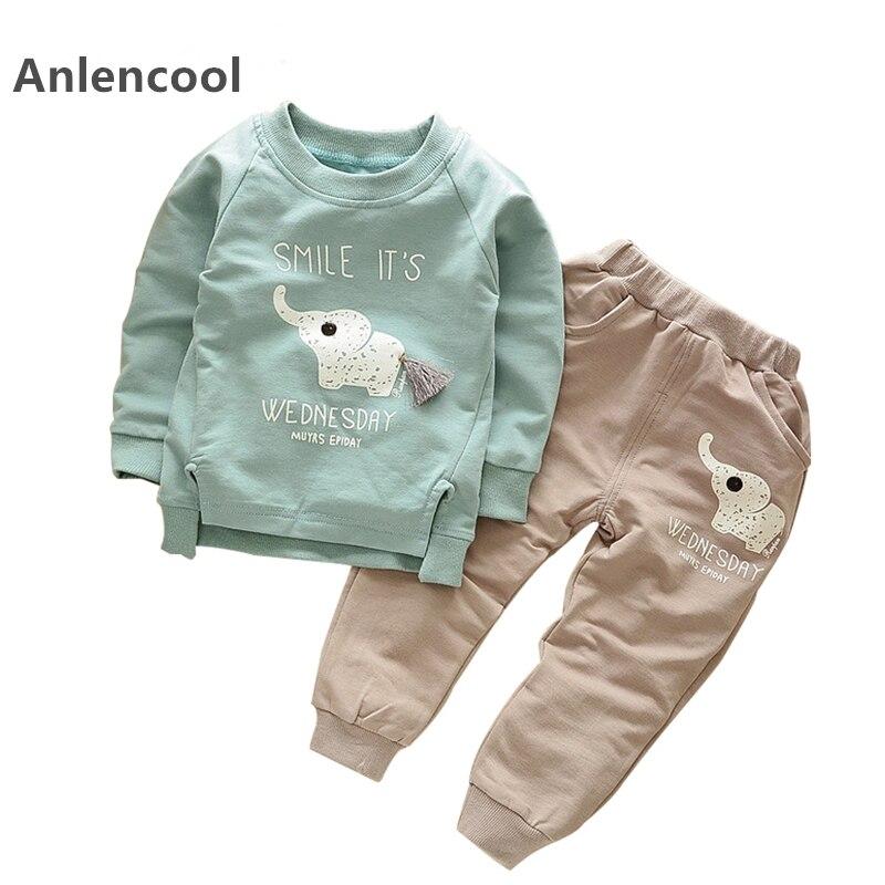 5882cba2ff0d Anlencool/2018 Осенняя мода Стиль осень мультфильм для маленьких мальчиков  Наборы для ухода за кожей рубашка с длинными рукавами + джинсовые штаны.