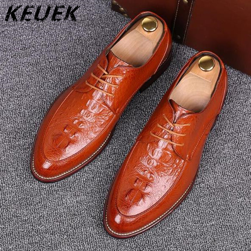 Crocodile Business Dress Shoes Men Pointed Toe Oxfords Genuine leather Lace-Up Flats Moccasins Casual shoes Male 0.9/2 полуботинки west coast цвет коричневый