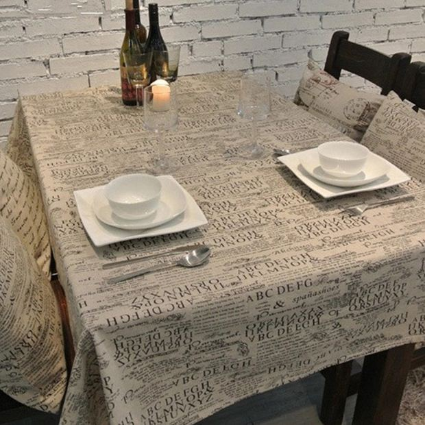 Ретро Письмо белье Скатерти в европейском стиле с принтом Стиль прямоугольник Кофе покрытие стола многофункциональный скатерть Бесплатна...