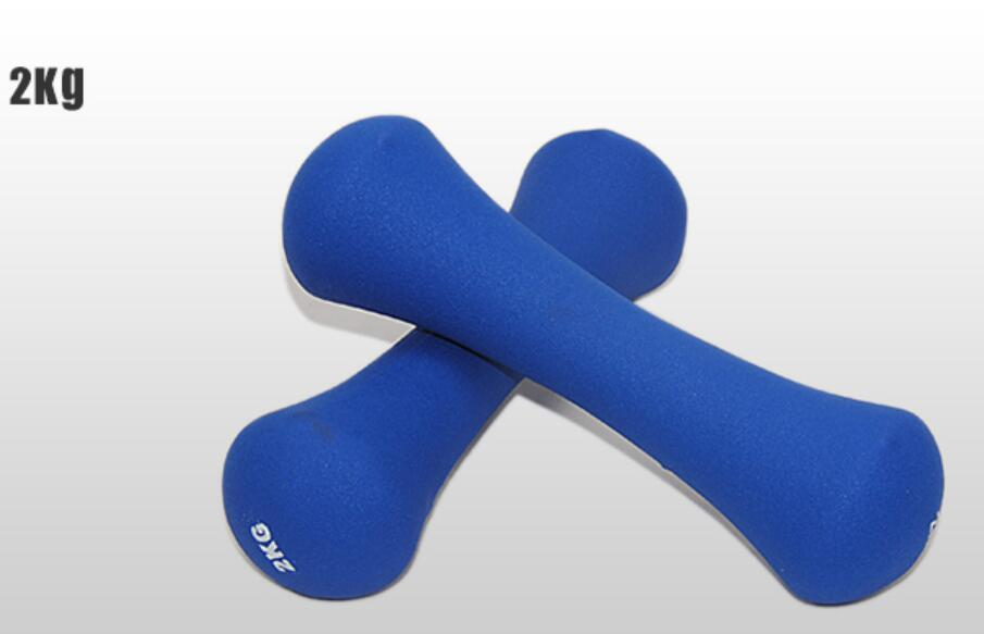 2*2 kg/pcs haltères style os haltères recouverts de caoutchouc Fitness muettes-cloches spécial pour les femmes aérobic perdre du poids