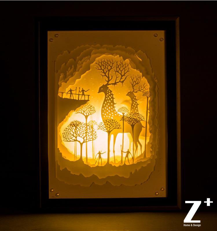 Buy Hand Made Paper Wood Art Night Lights