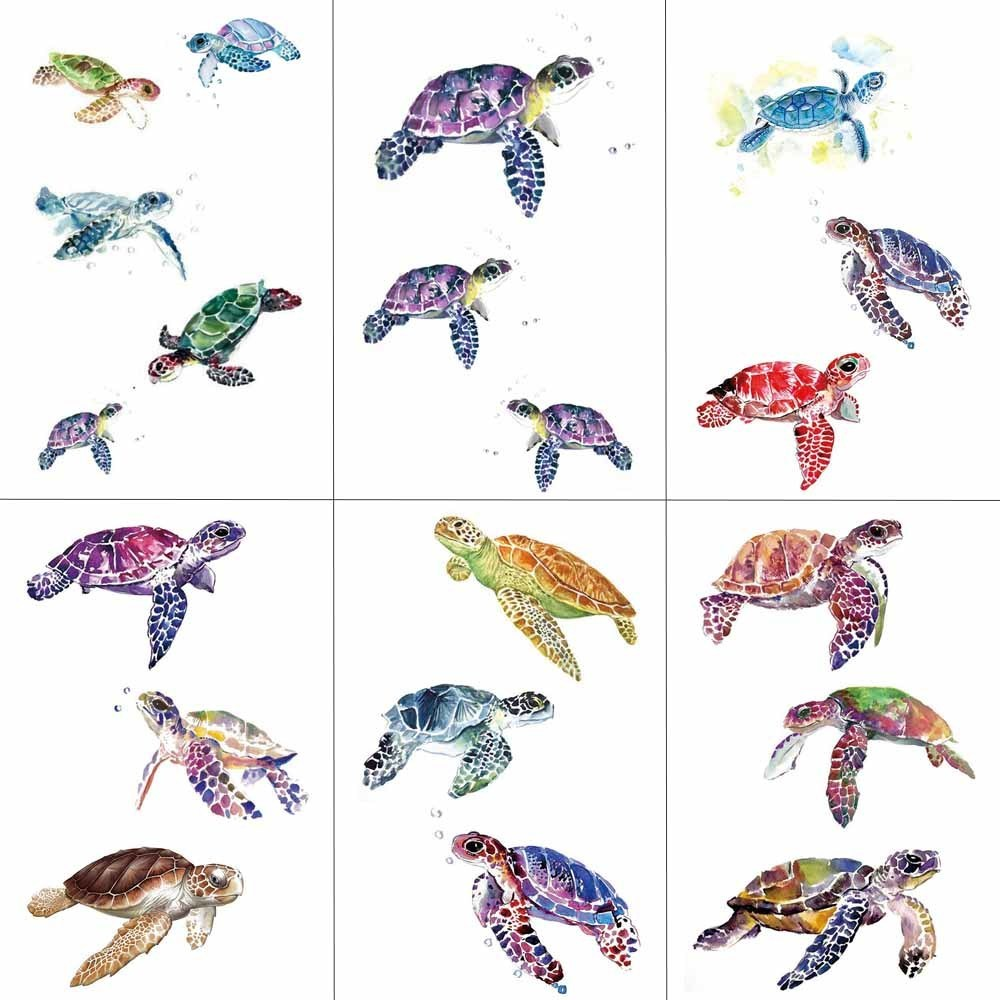 HXMAN Colorized Turtle Temporary Tattoo Sticker Women Tattoos For Girls Fashion Body Art Children Hand Fake Tatoo 9.8X6cm A-122
