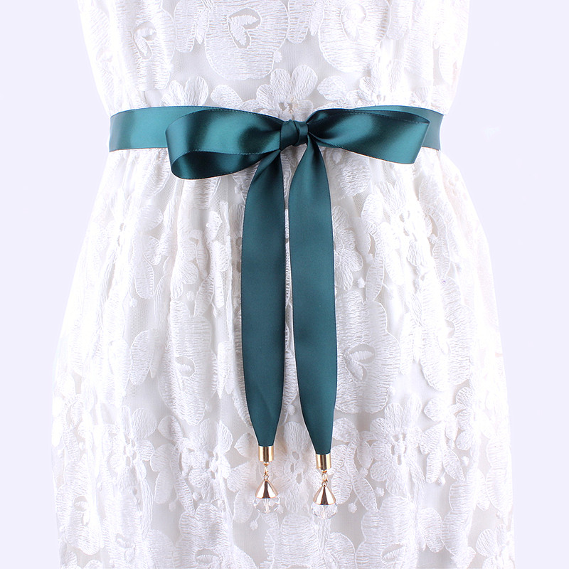 Helisopus Fashion Long Fabric Belt For Women Solid Simple Waist Belt Ribbon Knot Waist Rope Ladies Dress Accessories