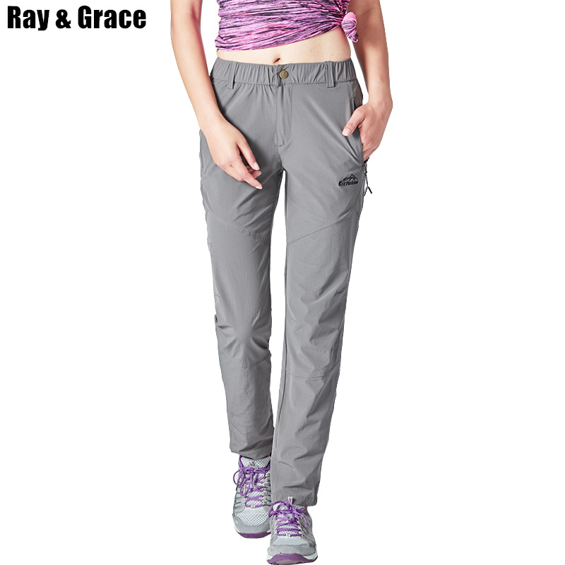 RAY GRACE Summer New Women Outdoor Pants Quick Dry Sports Trekking Fishing Hiking Climbing Trousers Elastic Breathable Pants