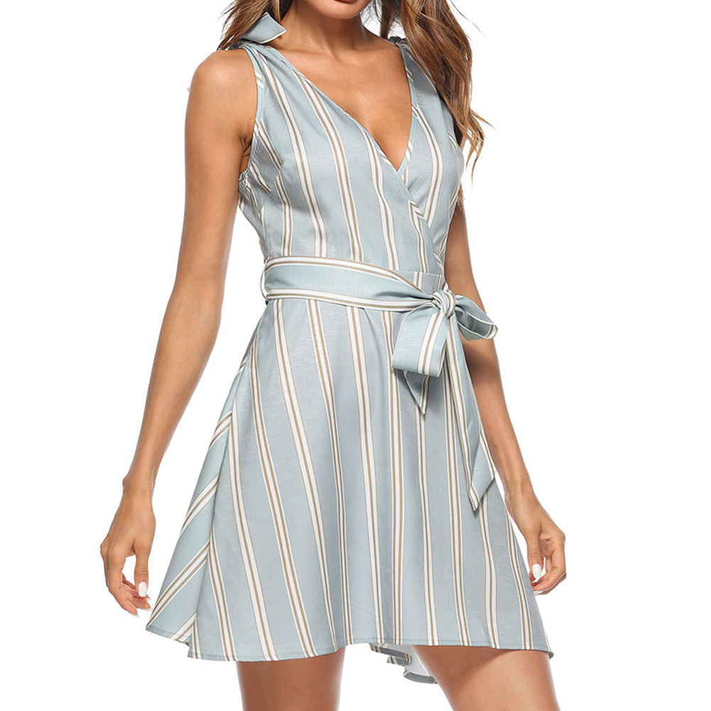 Hot Summer Women Sexy Dress With Belt V Neck Sleeveless Backless Striped Lady Girl Casual Dresses CGU 88