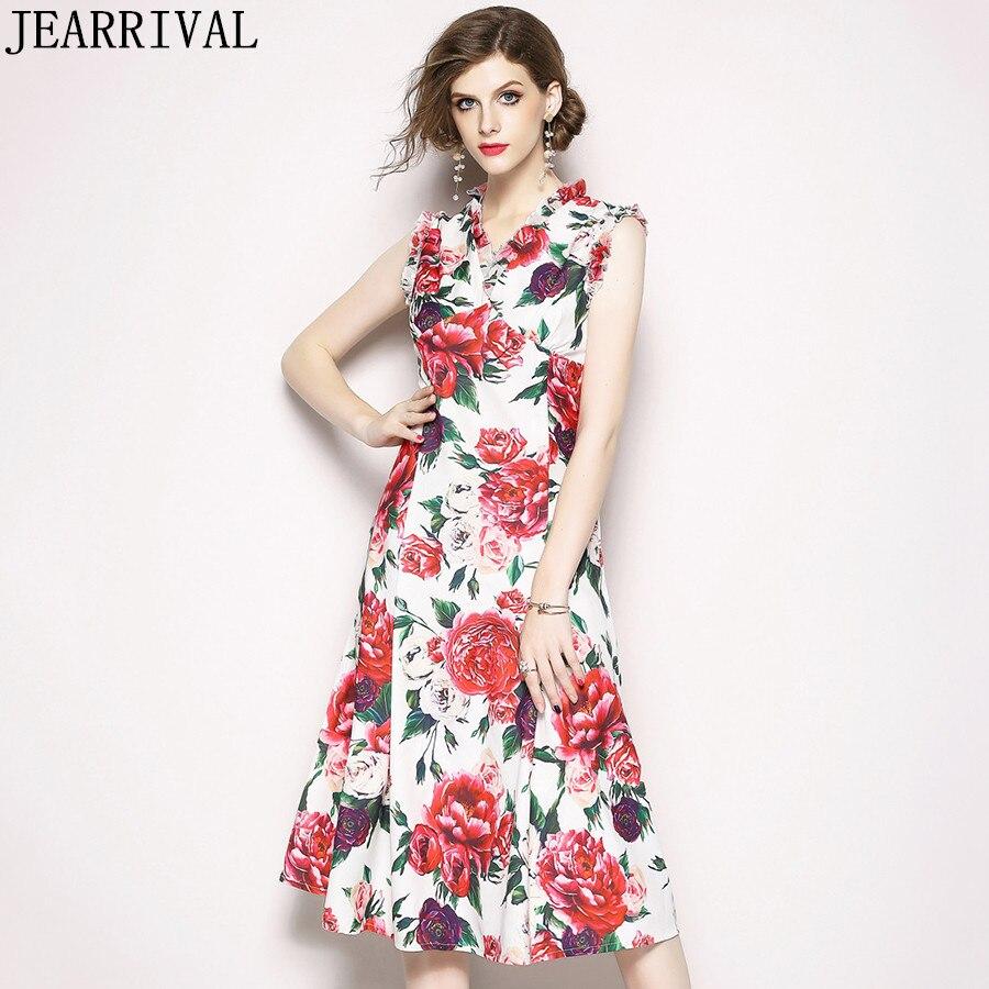 Floral Summer Dress 2018 New Fashion Womens Sexy V Neck A Line Vintage Print Slim Casual Runway Midi Dress Vestidos De Festa