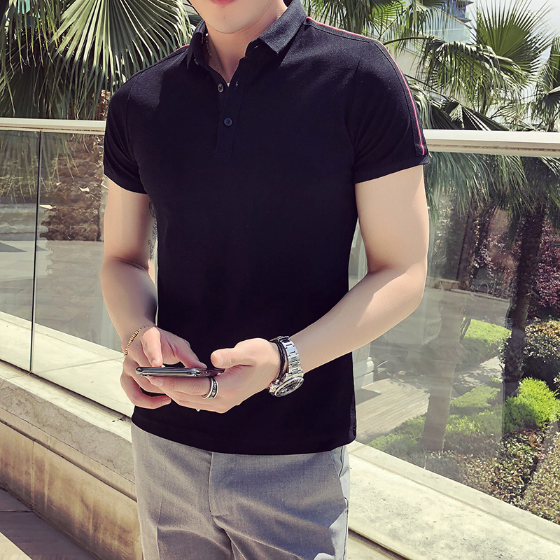 529b25479c4 2018 Brand Polo Shirt Men Cotton Fashion Camisa Polo Summer Shoulder Ribbon Patchwork  Short sleeve Casual Slim Fit Polo Homme-in Polo from Men s Clothing on ...