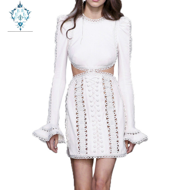 CUERLY Women Sexy Expose waist Lace Dress 2019 Designer Hollow Out Embroidery Full Sleeve Lady O neck Flare Party Dresses