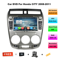 8 Inch 1024 600 Quad Core Android 6 0 Car DVD Radio For Honda CITY 2008
