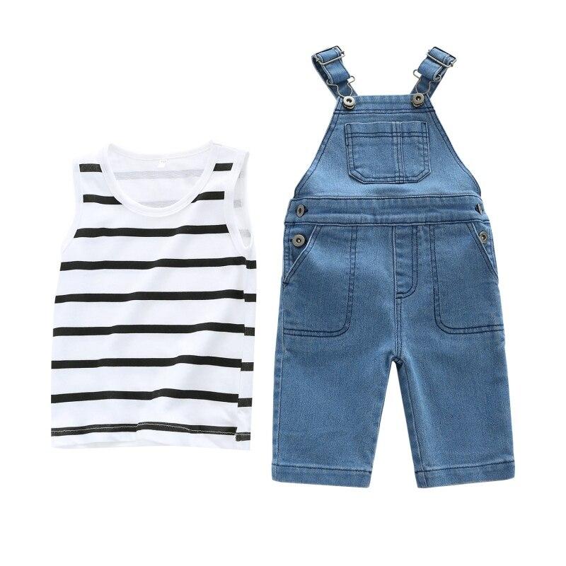 0-2T Summer Hot Sale Baby Girls Casual Clothes Set Infant Kids Stripe Vest+Strap Jeans Two Sets Newborn Fashion Suits