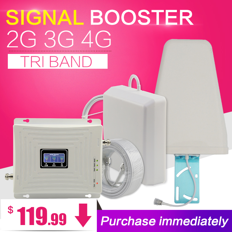 GSM 900 1800 WCDMA 2100 Tri-Band Booster 2G 3G 4G LTE 1800 70dB Mobile Cellular Signal Amplifier Cell Phone Repeater for Russia