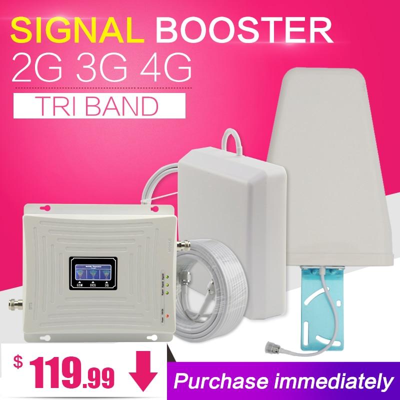 GSM 900 1800 WCDMA 2100 tri-band Booster 2G 3G 4G LTE 1800 70dB móvil celular amplificador de señal de teléfono celular repetidor para Europa