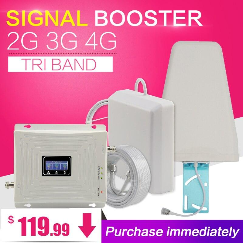 GSM WCDMA 900 1800 2100 Tri-Band Booster 3 2g g g LTE 1800 70dB 4 Móvel Celular amplificador de sinal de Telefone Celular Repetidor para A Europa