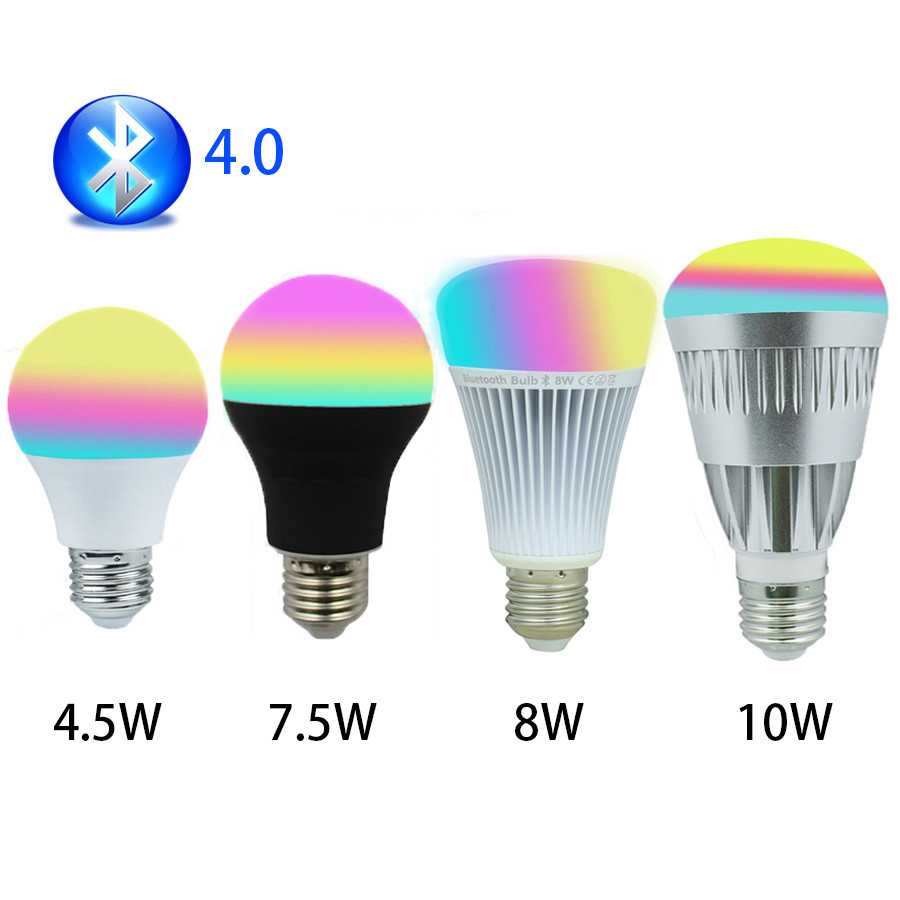 Bluetooth Led Bulbs 4.5W 7W 7.5W 8W 10W RGBW Lamps 110V 220V 4.0 Smartphone Control LED Color Dimmable Lamp