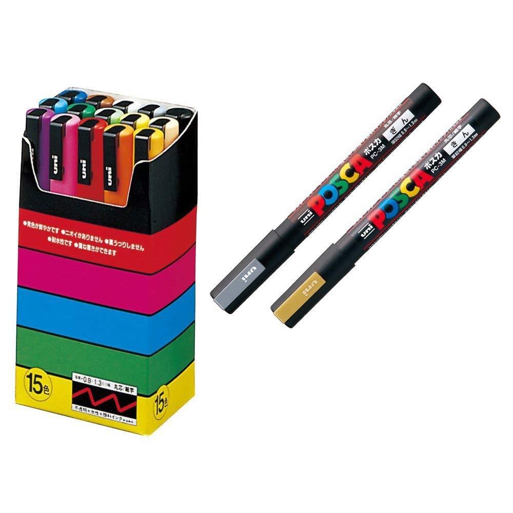 Uni-Posca Paint Marker Pen Special Set Mitsubishi Pencil Poster Color Marking Pens Medium Point 17 Colors PC-5M15C&Gold&Silver