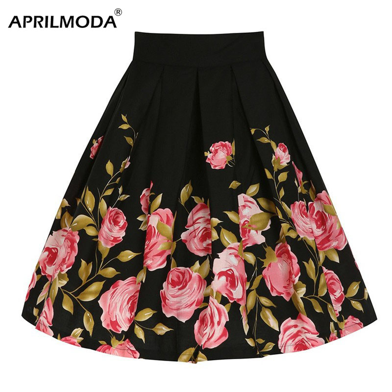 da03436090 Detail Feedback Questions about Black Rose Women Big Swing 50s Vintage Skirt  Plus Size 4XL High Waist Floral Printed Summer Style Party Runway Sundress  ...