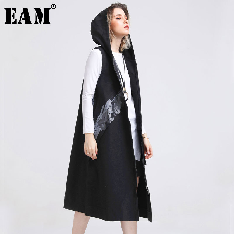 [EAM] Women Loose Fit Black Irregular Knitting Vest New V-collar Sleeveless Fashion Tide All-match Spring Autumn 2019 1A816