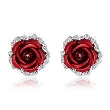 Del Metallo di modo di Rosa Rossa Orecchini Grandi Orecchini Del Fiore Per  Le Donne di 29fe19662645