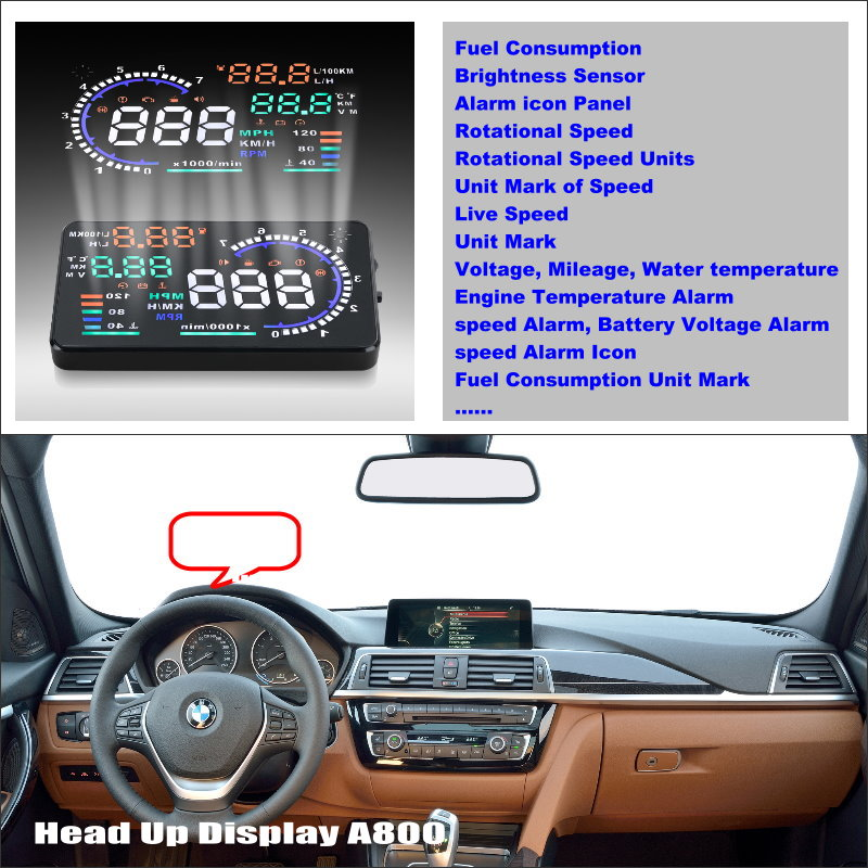 For BMW 3 5 7 Series 2015 2016 HUD Car Head Up Display Saft Driving Screen Projector - Refkecting Windshield rastp m9 hud 5 5 inch head up windscreen projector obd2 euobd car driving data display speed rpm fuel consumption rs hud011