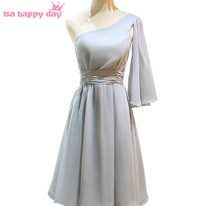 women grey formal size 6 short one shoulder chiffon girls party dress evening length gown dresses gowns china to party H4265