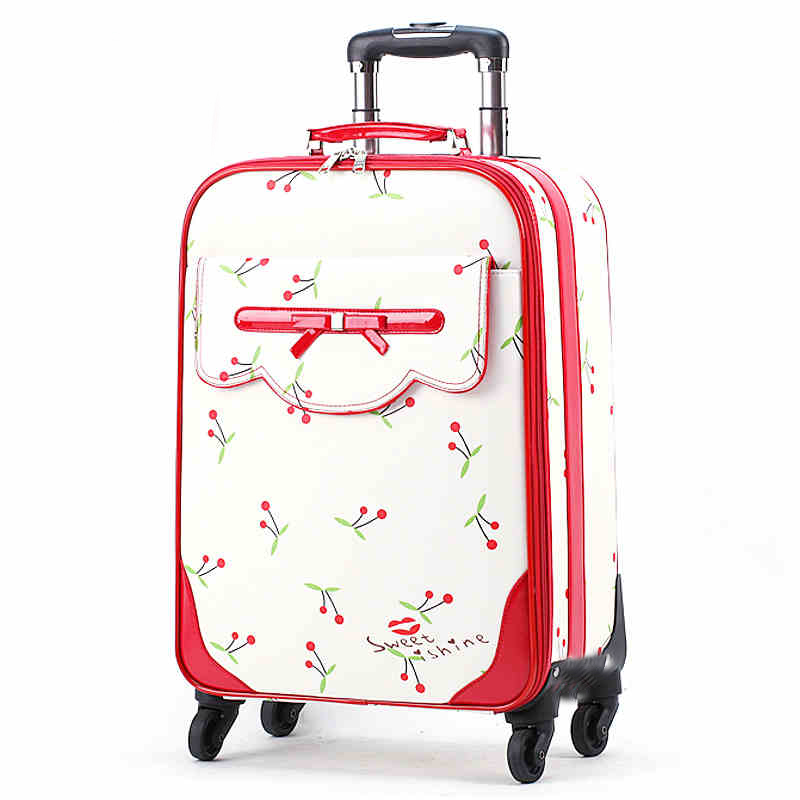202416 inch 4 Wheels Retro Pink Pu Leather Flowers Suitcase Women Bag Trunk Vintage Luggages Rolling Travel Luggage For Girls