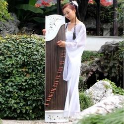 High-End Alami Kerang Putih Ukir Guzheng Pola Handmade Inlay Zither Bahasa Swedia 21 String Musik Instrumment