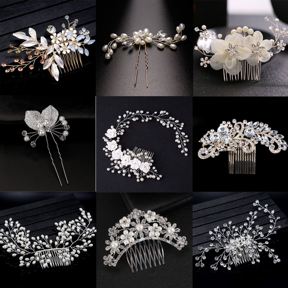 Jewelry Hair-Accessories Flower-Hair Bridal-Tiara Crystal Wedding Elegant Wholesale Pearl