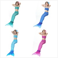 2 12Y Girls Mermaid Tail Princess Dress Simulation Split Mermaid Tail Beachwear Girls Halter Swimwear Bathing