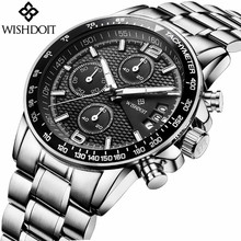 WISHDOIT Watches Luxury Brand Chronograph Quartz Watch Men Fashion Business Sport Steel Waterproof Wristwatch