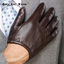 2014 fashion men Genuin leather gloves wrist sheepskin for man thin winter driving