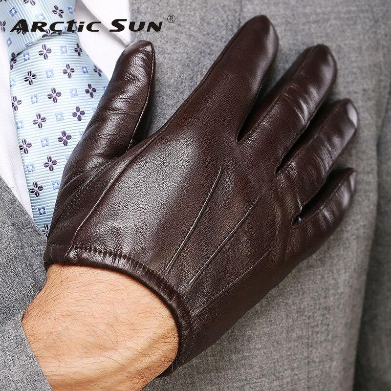 2019 de moda de cuero genuino de los hombres guantes de muñeca de piel de oveja guantes para hombre delgado invierno conducción cinco dedos corriendo M017PQ