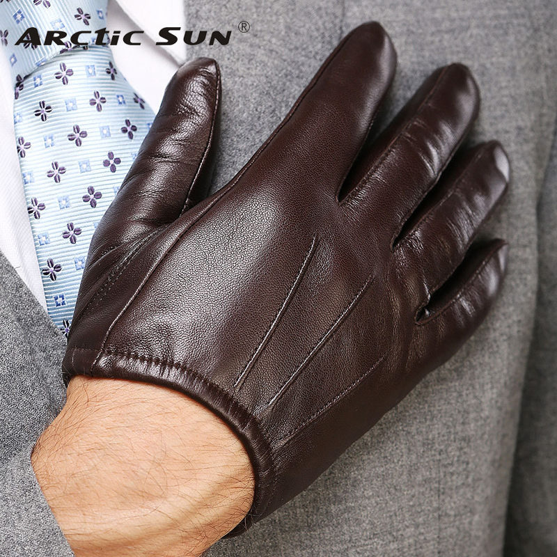 2020 Top Fashion Men Genuine Leather Gloves Wrist Sheepskin Glove For Man Thin Winter Driving Five Finger Rushed M017PQ2