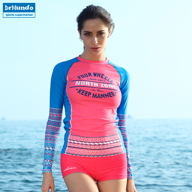 ᗛRash guard Swim Camisas mujeres de manga larga Pantalones falda ...