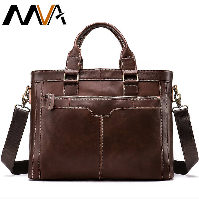MVA Briefcase Male Bags Messenger Bag Men's Genuine Leather Men's Business Laptop Handbag Men For Documents Satchel Men Bag 8525