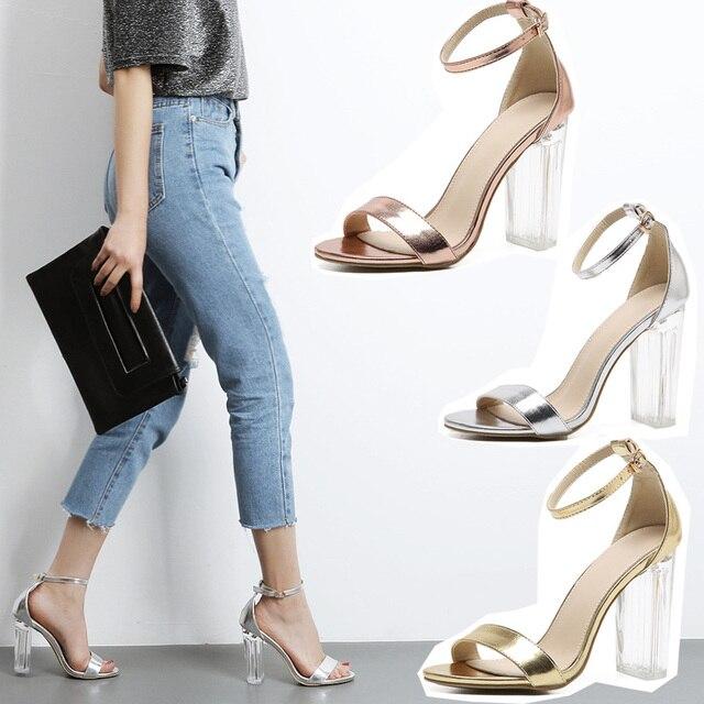 Women Sandals Summer 2017 NEW Ankle Strap Transparent High Heel Gladiator Sandals Open Toe Silver/Gold Bride Shoes Dress Sandals