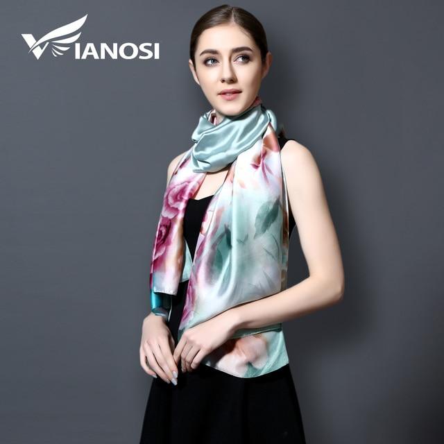 [VIANOSI] 2017 Smooth Silk Scarf Digital Printing Women Scarf Brand Shawls and Scarves Foulard Femme Luxury sjaals zomer VA104