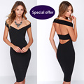 Sexy party dress womens sexy dresses party night club dress Europe New Brands victoria beckham kim kardashian Black V neck dress