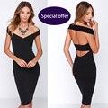 Vestido de partido atractivo atractivo de las mujeres vestidos de partido del club de noche vestido europa Nuevas Marcas de kim kardashian Negro con cuello en V de victoria beckham vestido