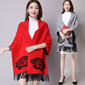Mujeres Cardigan de Punto Suéter de Cachemira Abrigo de Invierno de Doble Cara Desgaste Borla Llena Casual Mujeres Suéteres de Gran Tamaño del Mantón de Ponchos