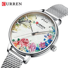 2019 Curren New Ladies Quartz Watch Women Fashion Casual Dress Steel Clocks Chinese Style Pattern with Bird and Flower(China)