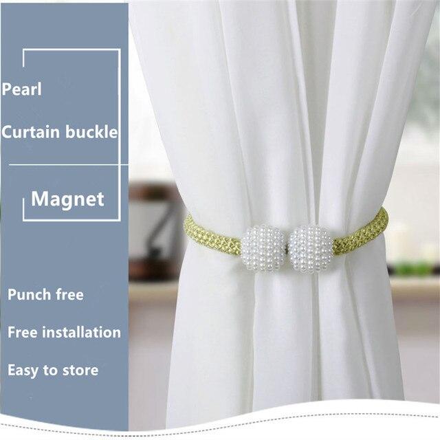 2 pçs pérola cortina fivela clipe magnético cortina suporte cinta fivela decorativa pingente cortina gravata corda mobiliário decoração