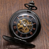 Pocket Watch Relogio De Bolos Vintage Black Silver Semicircle Mechanical Hand Wind Pocket Watch Chain Gifts