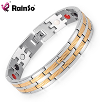 Rainso Fashion Jewelry Healing 4 Elements Magnetic Stainless Steel Bracelets For Men OSB 689SGFIR With Silver