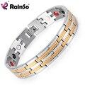 Rainso Ювелирной Мужчин Целительную Энергию 4 Элементы Магнитные Браслеты Из Нержавеющей Стали для Мужчин OSB-689SGFIR С Серебро, Позолота