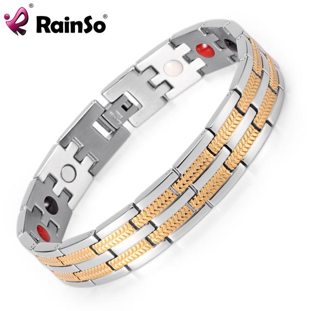 Rainso joyería de los hombres de la energía de sanación 4 elementos magnética osb-689sgfir con plata chapado en oro de acero inoxidable para los hombres