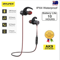 2018 AWEI AK9 Wireless Sports Bluetooth Earphone Magnetic Switch IPX4 Waterproof For xiaomi mi 6 5X 5S Max 2 Headset for iphone